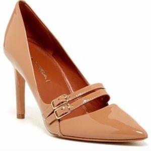 Via Spiga Nude Patent Leather Heels Buckle Irving